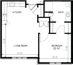 Valley Villas Assisted Living One Bedroom Floorplan